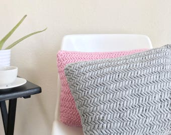 Knit herringbone pillow