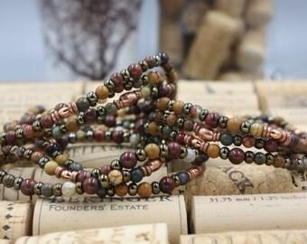 Women's Beaded Bracelet, Mix Colored Jasper Beads, African Heishi & Green Czech Seed Spacers, Vintage Beaded Jewelry, Beacon Bracelet