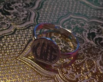 Small adjustable monogram ring