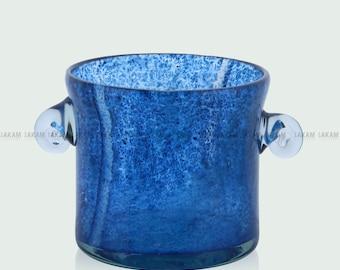 Mini colorful blown glass ice bucket