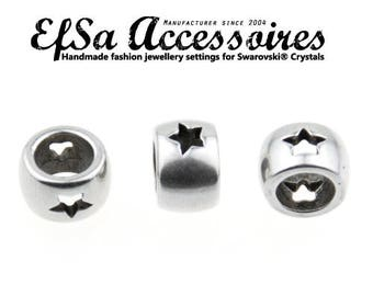 10 pcs MADE in EUROPE- 925 Sterling silver plated, Antique Silver Tone star High quality Metal bead, ZM93