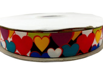 """Valentine's Multi Color Hearts Grosgrain Ribbon 7/8"""" By The Yard For Hair Bows Gift Wrapping Scrapbooking Craft Supply #70"""