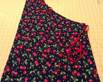 Just a Plain Old Kitchen Apron for Cooking/Baking; Bright Red Cherries on Black,  Handmade 2 Pocket/Full Apron, Easy Wear/Easy Care.