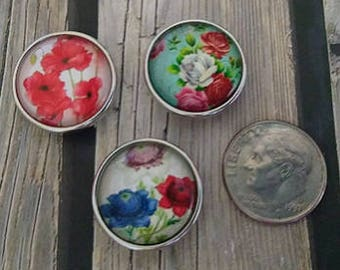 Interchangeable Snap Button Jewelry, Flower's Set of 3, #e-155