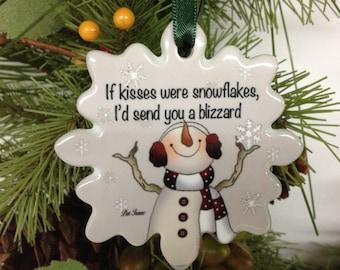 Love & Kiss Ornament, Personalize Ornament, Christmas Ornament, Porcelain Kiss Ornament, Love you Ornament, Stocking Stuffer, Gift under 10