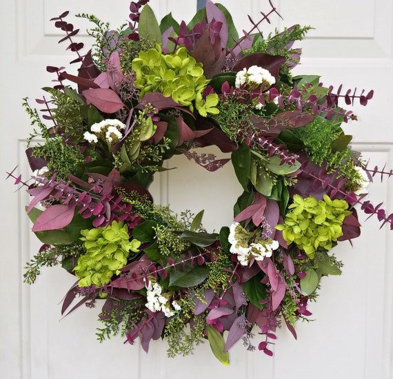 Custom sizes, hydrangea wreath, green wreath, leaf wreath, salal wreath, seeded eucalyptus wreath, preserved wreath, dried wreath