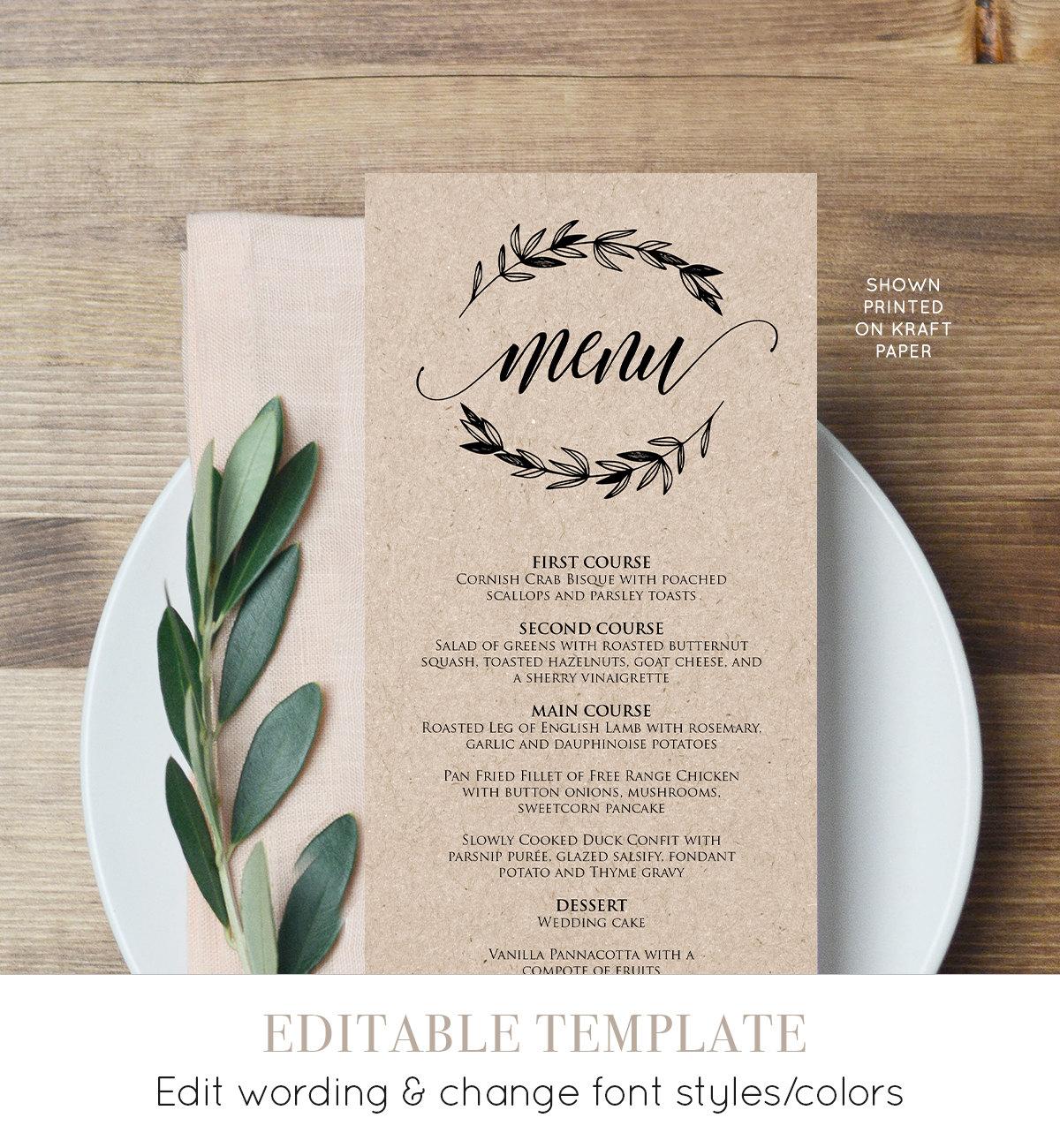rustic wedding menu template printable menu card. Black Bedroom Furniture Sets. Home Design Ideas