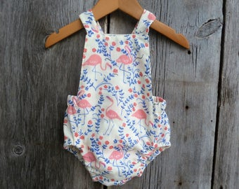 Baby girl romper, baby girls clothes, baby girl gift, spring baby clothes, flamingo baby clothes,summer baby clothes, Florida baby