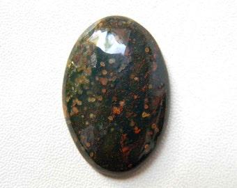 34x23 mm, Blood Stone Cabochon Gemstone in Oval Shape