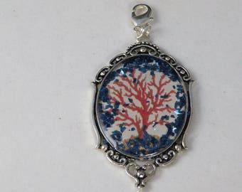 Antique Style Sea Coral Resin Silvertone Pendant