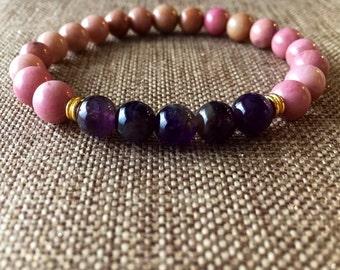 8mm Genuine Rhodochrosite Bracelet, beaded bracelet  rhodochrosite Jewelry, amethyst jewelry, Gemstone jewelry, natural stone jewelry,