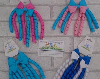 Korker bobble, hair bobble, ribbons, curly ribbon bobbles, hair accessory, hair elastic, hair tie, hair band, plain, multicolour, rainbow