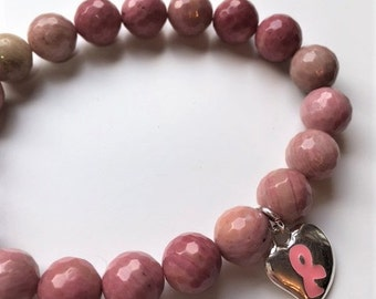 Band of Grace - Breast Cancer Pink Ribbon Beaded Stretch Bracelet