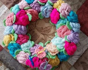 Spring Summer Wreath Crocheted