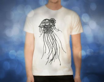Steampunk Jellyfish white t shirt for men, screen printed men's short sleeve tee shirt, Size S,  M, L, XL, XXL