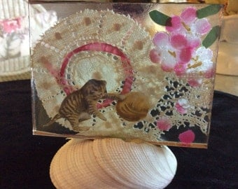"Art Glass Panel, ""playful Tabby"""