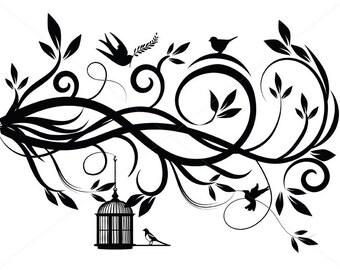 Flourish SVG, Swirl Lines, Ornamental Borders, Scalabe Vector Graphics, Birds PDF and JPG Files