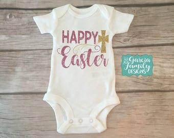 Happy Easter, Easter Cross Shirt, Easter Religious Shirt, Happy Easter Cross, Jesus Easter Shirt, Easter Shirt, Baby 1st Easter, 1st Easter