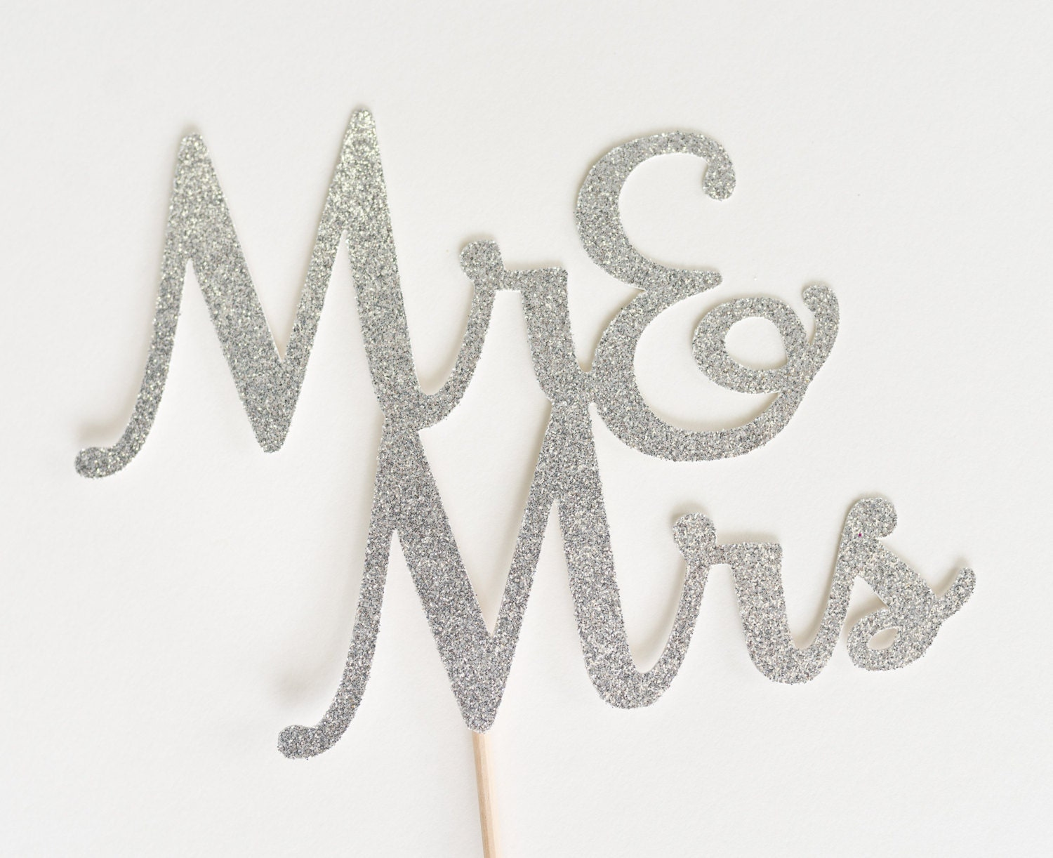 Mr & Mrs Wedding Cake Topper Silver Glitter and Bridal