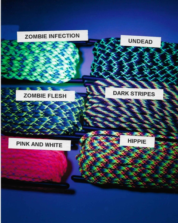 Zombie survivor paracord bracelets with black light paracord and/or glow in the dark strip