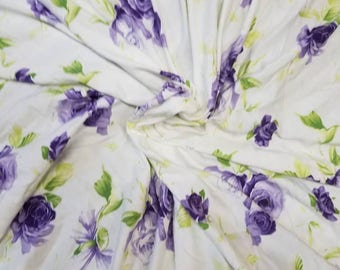 Bamboo spandex Floral 8.5-9oz Eco-Friendly NATURAL FiBER by the yard