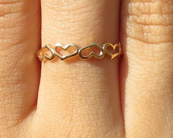 Eternity Heart Ring, Gold Heart Ring, Linked Hearts Ring, Bridal Gift, Anniversary Gift, Promise Ring, Heart Jewelry, Love Ring, Friendship.