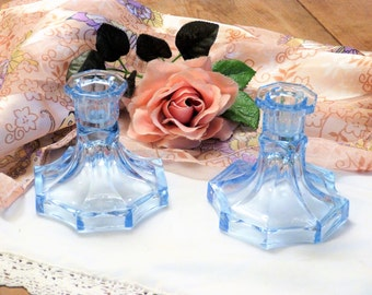 Blue Glass 1940's Candlesticks - Old Glass Candlesticks - Nostalgic Interiors  (stock#6430)