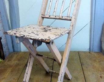 Child's Vintage Shabby Folding Chair -Vintage Folding Child's Chair (Stock#6585)