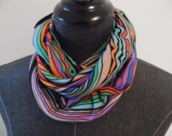 Jersey Knit.INFINITY SCARF.Scarves.Tube scarf.Circle Scarf.Gift for Her.Spring.Summer.Style.Desert Stripe Purple.Black.Green.Orange.Blues.