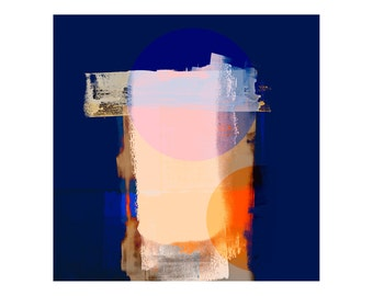 High Quality Abstract Art Print - Blue Orange Colours, Large Wall Art For Modern Interiors, Home Furnishing, Contemporary Design