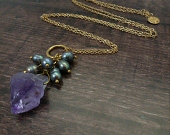 Raw Amethyst and Fresh Water Pearl Pendant in Gold Plated Brass/Handmade/Fair Trade/Necklace/Friendship/Healing Stone/Gift for Her