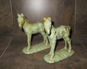 Vintage Cast Iron Shabby Chic Horse Bookends