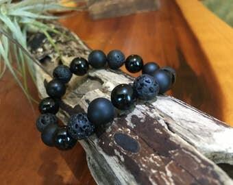 Bracelet - lava rock, black onyx (matte and shiny)