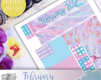 50% OFF! ERIN CONDREN February Monthly View Kit – Printable Planner Stickers