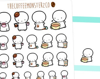 coffee lovers emotis - emoti planner stickers E049
