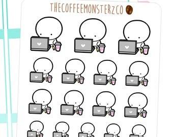 working (grey) - emoti planner stickers E047