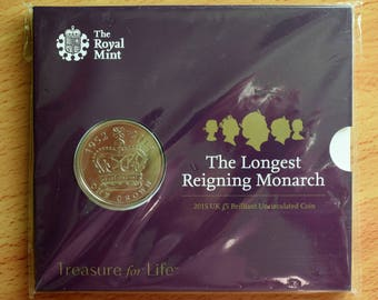 Great Britain: Queen Elizabeth II, The Longest Reigning Monarch Five Pound Commemorative Coin.