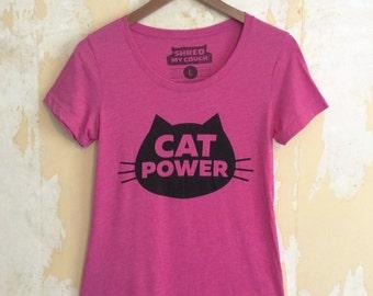 Cat T-Shirt, Cat Power T-shirt, Women's T-Shirt, Junior/Slim Fit Pink t-shirt