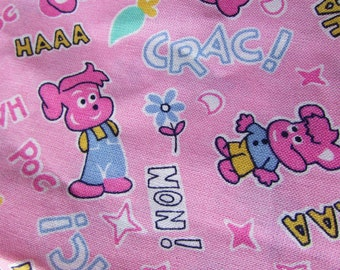 2x Large lengths vintage French girls nursery cartoon cotton fabric UNUSED 15ft x 8ft