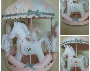 Carousel horses made of felt and cotton fabric