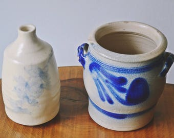 Antique Vintage Salt Glaze Crock And Pottery Jug / Vase, Margery Cartwright Pottery