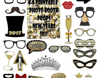 2017 New Year's Eve Photo Booth Props Set Gold Glitter Printable Instant Download party favor game black new years eve photo booth props
