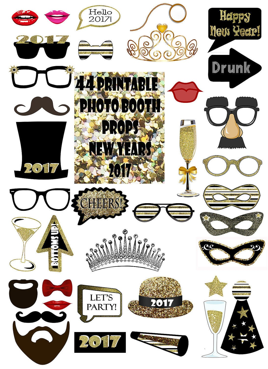 2017 new year 39 s eve photo booth props set gold glitter On new years po booth backdrops