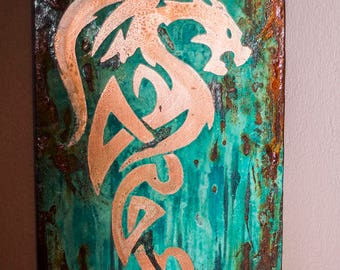 Blue, green, turquoise, rust, fantasy dragon copper wall art
