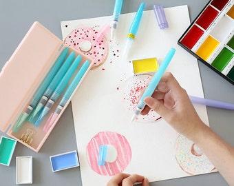 Water brush pens for Calligraphy, Handlettering Brushes, Japanese brush pens, Kuretake pens,  Water Brush Pens from Japan