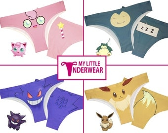 2017 Pokemon Underwear Set Of 4 - Jigglypuff - Snorlax - Gengar - Eevee Pokemon Panties - Pokemon Thongs - Pokemon Clothing - Pokemon Gifts