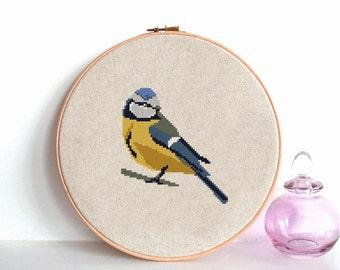 Bird cross stitch pattern, Modern cross stitch pattern, Tit Bird counted cross stitch chart, Geometric bird