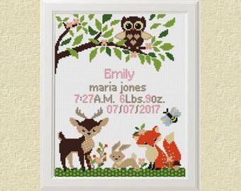 Baby cross stitch pattern pdf birth sampler birth announcement woodland Fox Deer Owl Cross Stitch personalized unique baby girl diy gift