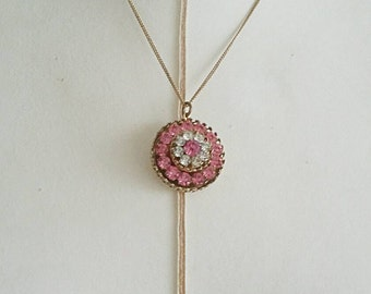 Vintage Coro Pink Pendant Necklace