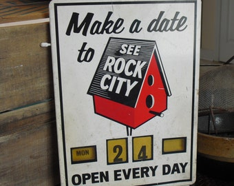 Vintage See Rock City Original Metal Sign with Calendar, Single Side, Iconic Tourist Attraction, Chattanooga, Lookout Mountain, Lovers Leap